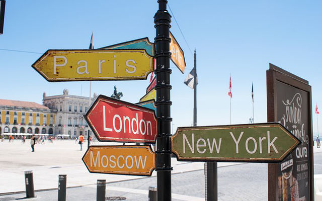 A sign in Europe pointing to various countries