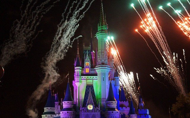 Walt Disney Magic Castle at night